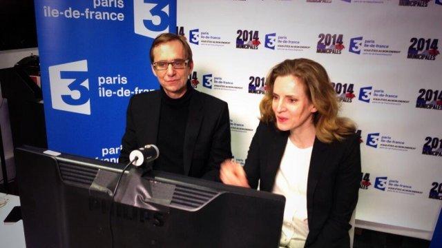© Olivier Couvreur / France 3 Paris Nathalie Kosciusko-Morizet et le journaliste Daïc Audouit, durant le débat interactif