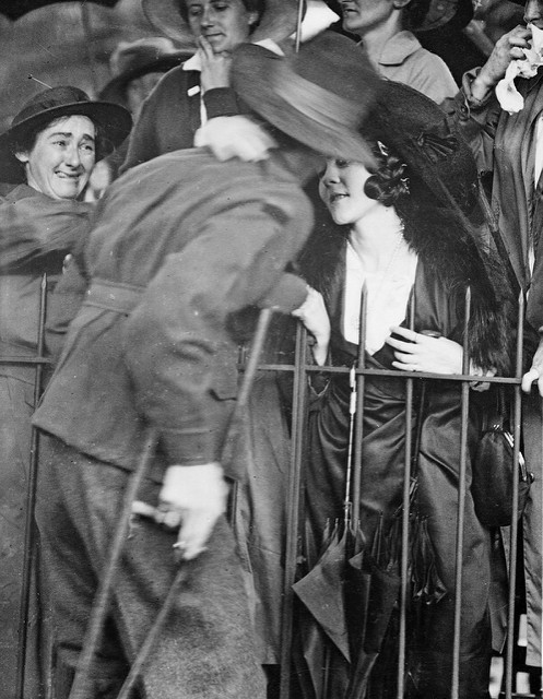 Sydney, NSW. 1919. A wounded AIF soldier receives an affectionate welcome home at the Anzac Buffet in The Domain.
