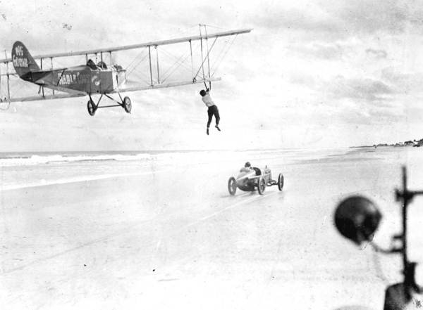 Auto-to-airplane transfer stunt: Daytona Beach, Florida