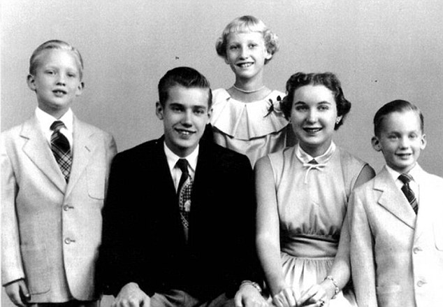A young Donald Trump, left, is pictured with his mother and father and siblings Maryanne and Fred junior