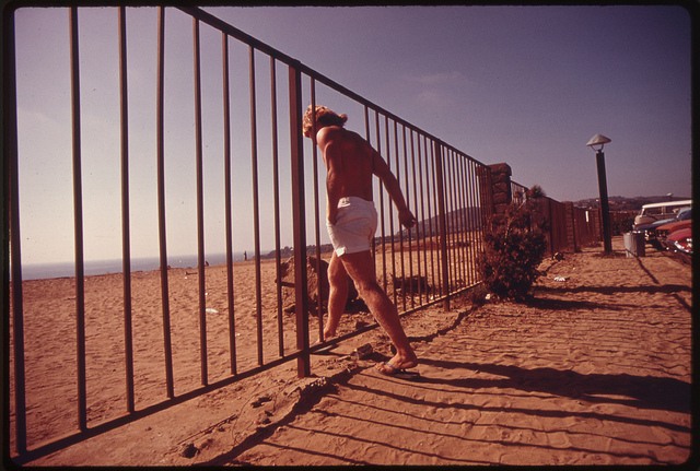 Access to Niguel Beach Park along the ocean in Orange County, through an area that was scheduled for development, May 1975